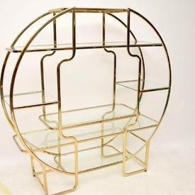 154Cm X 152Cm Circ Italian Brass Frame 6 Shelf Glass Display Unit