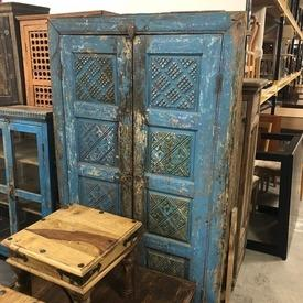178Cm X 108 Distressed Blue Ethnic Carved Pattern 2 Door Cupboard