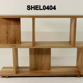 Oiled Solid Oak 2 Tier Staggered Shelving Unit