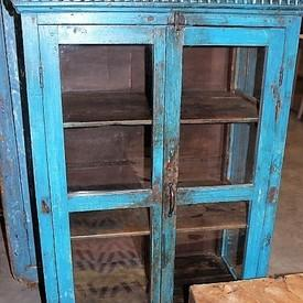 Distressed Blue Painted 2 Glazed Door Shelf Unit