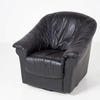 80's Black Leather Swivel Tub Chair