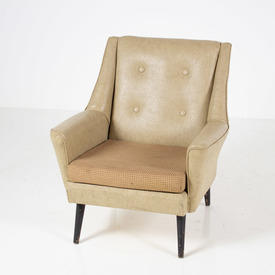 Cream Vinyl Beige Fabric / Black Leg Button Back Armchair