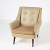 Cream Vinyl  Beige Fabric/Black Leg Button Back Armchair