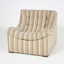70'S Cream/Fawn Stripe Bucket Armchair