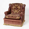 Standard Plum Fabric  Walnut Panel Armchair