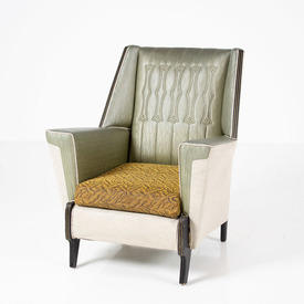 50's Green/Beige Black Trim Vinyl Armchair Withbrown/Yellow Seat Cushion
