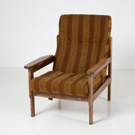 Teak Frame Brown & Yellow Stripe Fabric Open Arm Easy Chair  (50s)
