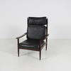 Dark Rosewood/Black Vinyl High Back Open Armchair