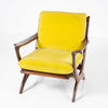 60's Dark Teak Crossed Frame Yellow Fabric Arm Chair  (50s)