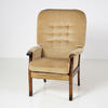 Gold Draylon Button Back / Manhogany Frame Easy Chair