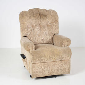 Cream Mock Flock Floral Fabric Reclining Armchair