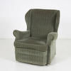 70's Standard Green Fabric Seat Wing Arm Chair