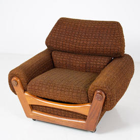 70's Brown Fabric & Teak  Front Panel Arm Chair  (50s)