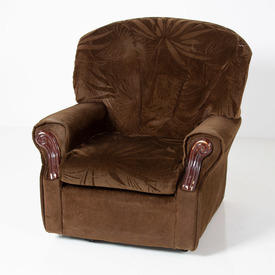 70's Brown Self Pattern Fabric & Dk/Wood Panel Armchair