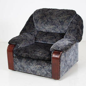 80's Blue/Black Pattern Mahogany Trim 'wtd' Armchair