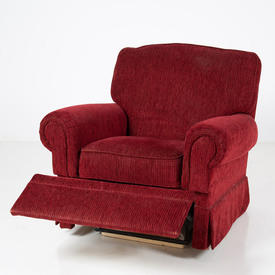 Red Cord Fabric Roll Arm Reclining M & S Armchair