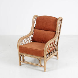 Bamboo Armchair W/Cross Wicker Sides & Orange Colour Cushion