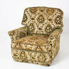 Green & White Floral Pattern Moquette Arm Armchair