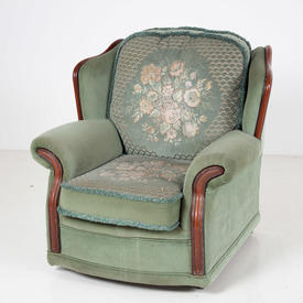 70's Green Draylon Floral Pattern/Wood Trim Armchair