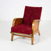 40's Polished Oak Frame Red Fabric Armchair