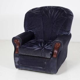 Blue Velour Self Pattern Wood Panel Armchair