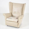 Cream Leather Wing Button Back Armchair Floral Cushion
