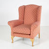 Red Diamond Pattern Wing Armchair W/Beech Cabriole Leg