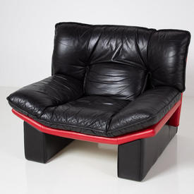 80's Black Padded Leather With Red Trim On Leather Beam Base Armchair
