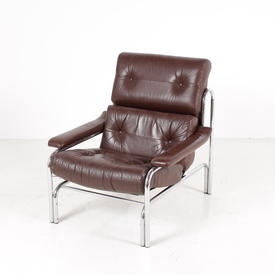 Tubular Chrome Frame Brown Leather Vintage Armchair
