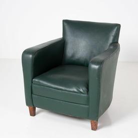 Bottle Green Vinyl Wood Leg Tub Chair