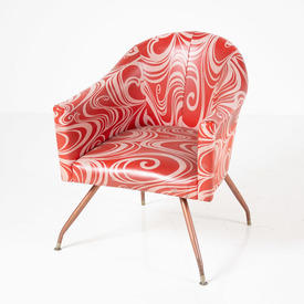 60's Pink & Red Psychedelic Swirl Patt Tub Chair