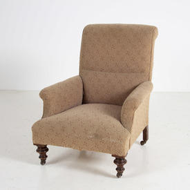 Light Brown/Dark Red X Pattern Tub Style 50'S Armchair on Castor'S