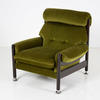 Olive Green Velour Armchair With Black Legs & Chrome Feet