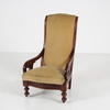Mahogany Elbow Easy Chair With Gold Velour , Turned Leg On Castors