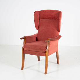'marsh' Polished Oak Frame Pink Fabric Wing Armchair