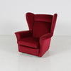 50's Red Fabric Wilson Wing Back Armchair