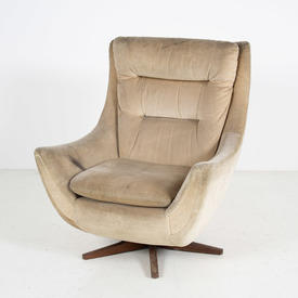60's Oyster Draylon Swivel Wood Base Armchair