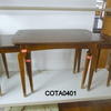 Rectangular Mid Oak Coffee Table With 2 Pull Out Lamp Tables