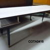 Pale Grey Formica Rectangular Coffee Table With Twin End Shelves