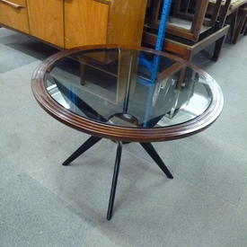 Mahogany Circular Black Glass Top Coffee Table With  Black Angled Legs