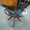 Mahogany Circular Black Glass Top Coffee Table With  Black Angled Legs