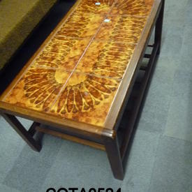 Rec Teak Orange/Yellow Pattern 8 Tile Top Coffee Table with  Undershelf