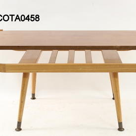50'S Teak Formica Top Oak Curved Mag Rack Splay Leg Coffee Table