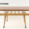 50's Teak Formica Top Oak Curved Mag Rack Splay Leg Coffee Table (50s)