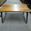 Small Sapelle & Black Leg Curved End Coffee Table