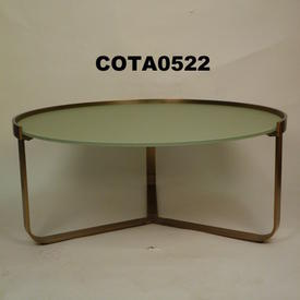 Chel 90Cm Circ Frosted Glass & Brass Cross Base Coffee Table