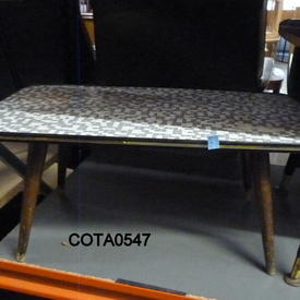 2' Rect White & Grey Mosaic Top Oak Splay Leg Coffee Table