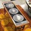 Blk White & Gold Circ Patt 2 Tier Teak 16 Tile Coffee Table