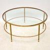 3' Circ French Brass Frame Inset Glass Top Coffee Table