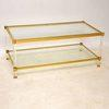 Vintage Rect Brass , Glass & Perspex Coffee Table
